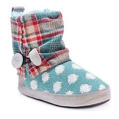MUK LUKS Women's Patti Cuffed Button Bootie Slippers