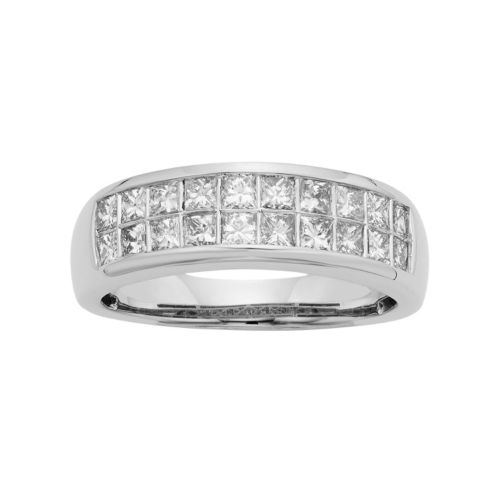 14k Gold IGL Certified 1 Carat T.W. Diamond Multirow Wedding Ring