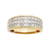 14k Gold IGL Certified 1 1/2 Carat T.W. Diamond Multirow Wedding Ring