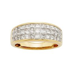 14k Gold IGL Certified 1 1\/2 Carat T.W. Diamond Multirow Wedding Ring by