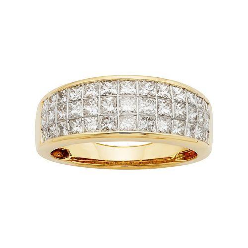 14k Gold IGL Certified 1 1/2 Carat T.W. Diamond Multirow Wedding Ring