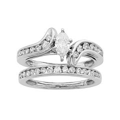 14k Gold IGL Certified 1 Carat T.W. Diamond Marquise Bypass Engagement Ring Set