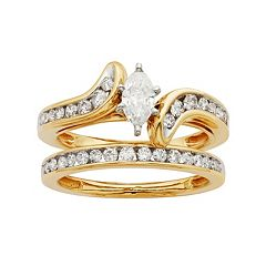 14k Gold IGL Certified 1 Carat T.W. Diamond Marquise Bypass Engagement Ring Set by