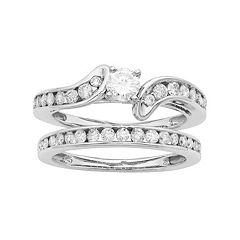 14k Gold IGL Certified 1 Carat T.W. Diamond Bypass Engagement Ring Set