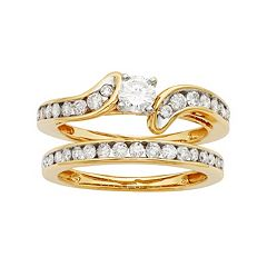 14k Gold IGL Certified 1 Carat T.W. Diamond Bypass Engagement Ring Set