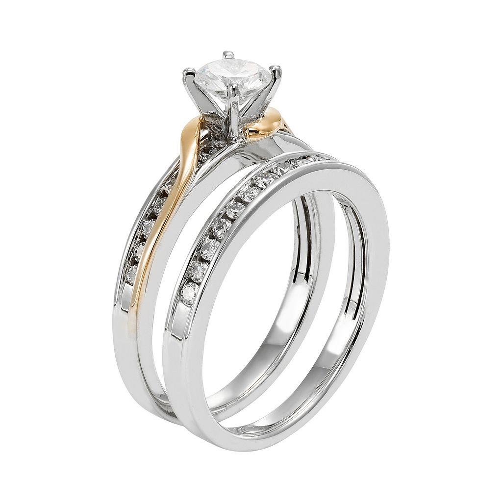 Two Tone 14k Gold IGL Certified 1 Carat T.W. Diamond Twist Engagement Ring Set
