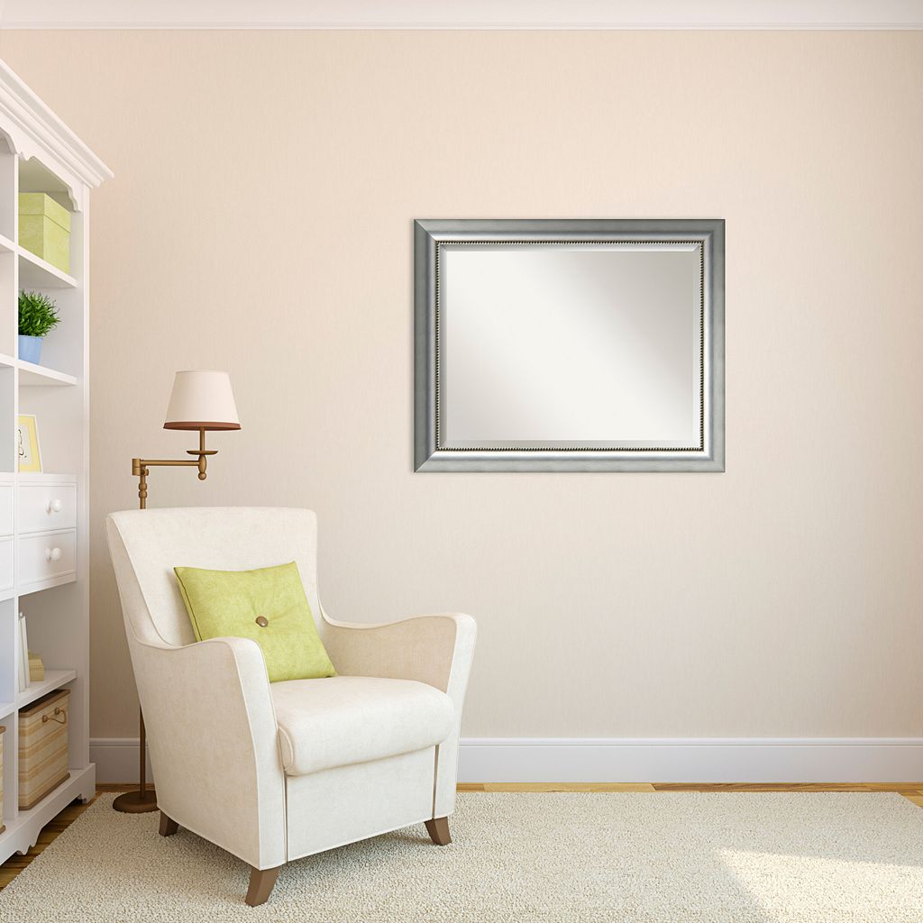 Vegas Small Burnished Silver-Tone Traditional Wood Wall Mirror
