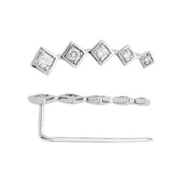 14k White Gold 1/4 Carat T.W. Diamond Ear Climber Earrings