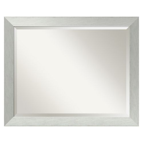 Brushed Sterling Silver Modern Wood Wall Mirror