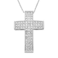 14k Gold 1 Carat T.W. IGL Certified Diamond Cross Pendant