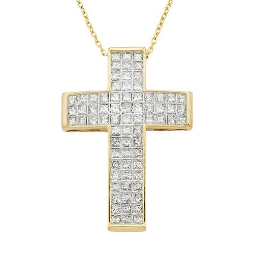 14k Gold 1 Carat T.W. IGL Certified Diamond Cross Pendant