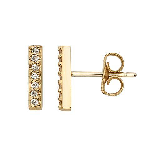 10k Gold Over Silver 1/10 Carat T.W. Diamond Stick Stud Earrings