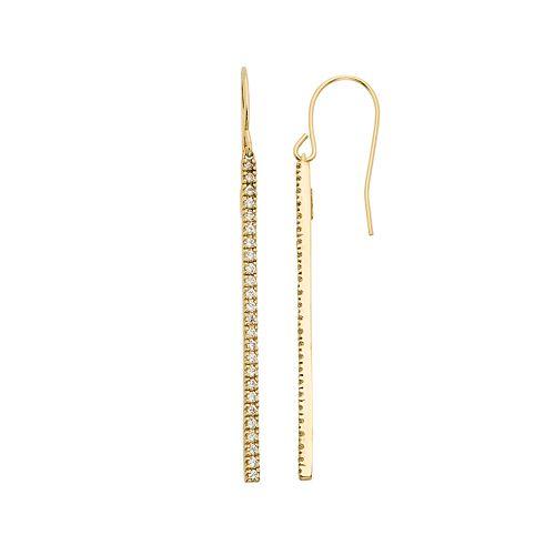 10k Gold Over Silver 1/2 Carat T.W. Diamond Stick Drop Earrings