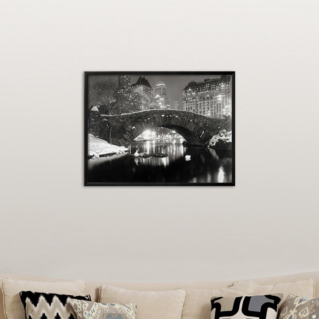 Art.com ''New York Pond in Winter'' Framed Wall Art