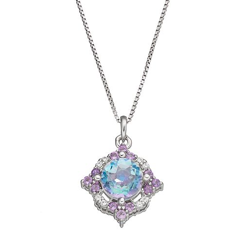 Sterling Silver Cassiopeia Topaz & Amethyst Pendant Necklace