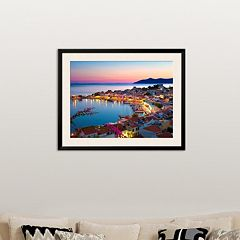 Art.com ''Greek Harbour at Dusk, Samos, Aegean Islands'' Framed Wall Art