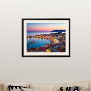Art.com ''Greek Harbour at Dusk, Samos, Aegean Islands'' Framed Wall Art
