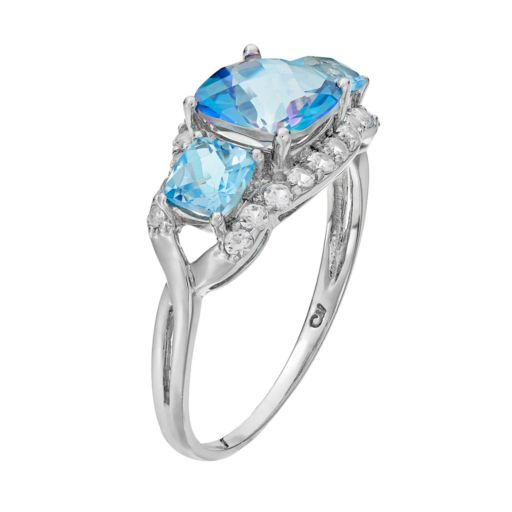 Sterling Silver Cassiopeia & Blue Topaz 3-Stone Ring