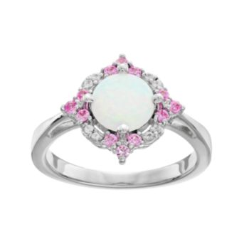 Sterling Silver Lab-Created Opal Ring