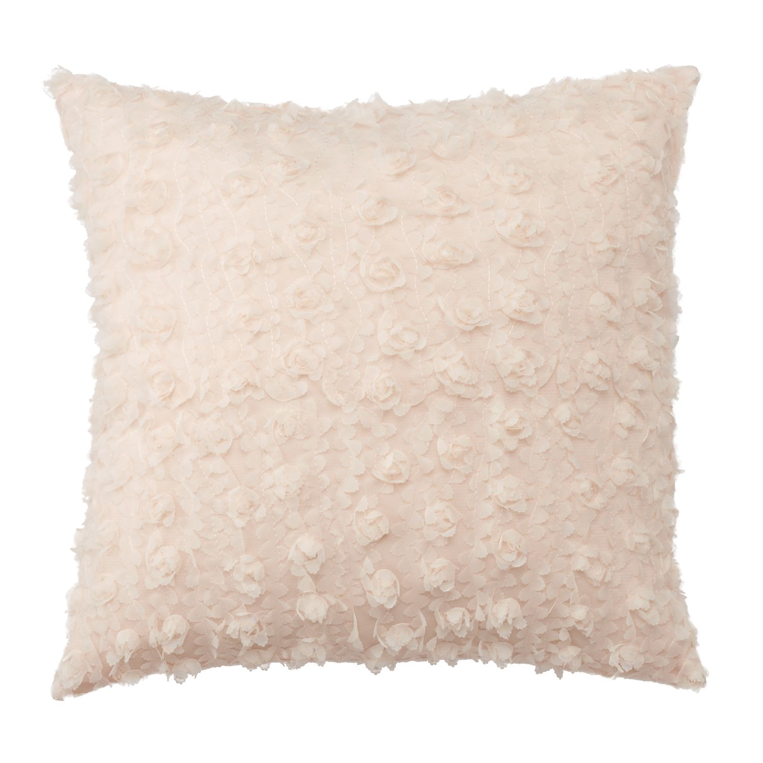 LC Lauren Conrad Rosette Chiffon Throw Pillow. White Pink. Clearance