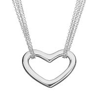 Sterling Silver Heart Link Multistrand Necklace