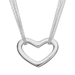 Sterling Silver Heart Link Multistrand Necklace