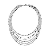 Sterling Silver Multistrand Bib Necklace