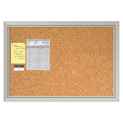 Romano Silver Finish Modern Cork Board Wall Decor