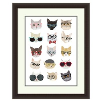 ''Cats with Glasses'' Framed Wall Art