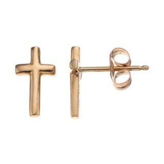 Itsy Bitsy 10k Gold Cross Stud Earrings