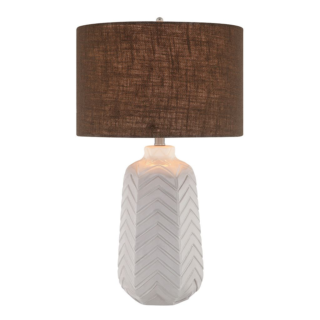 Catalina 3-Way 27'' Ceramic Chevron Table Lamp