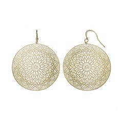Jennifer Lopez Geometric Filigree Disc Drop Earrings