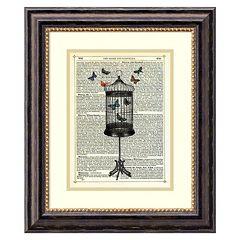 ''Bird Cage & Butterflies'' Framed Wall Art