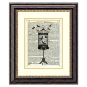 ''Bird Cage & Butterflies'' Framed Wall Art