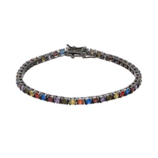 Sophie MillerLab-Created Ruby, Lab-Created Blue Spinel & Cubic Zirconia Sterling Silver Bracelet