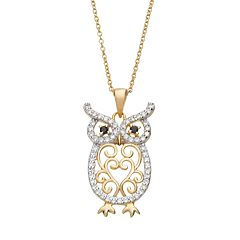 Sophie Miller Cubic Zirconia 14k Gold Over Silver Owl Pendant Necklace