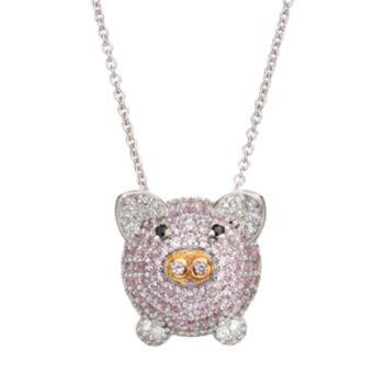 Sophie MillerCubic Zirconia Sterling Silver & 14k Rose Gold Over Silver Pig Pendant Necklace