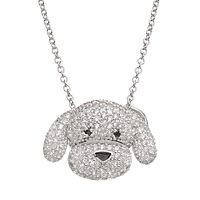 Sophie Miller Cubic Zirconia Sterling Silver Dog Pendant Necklace