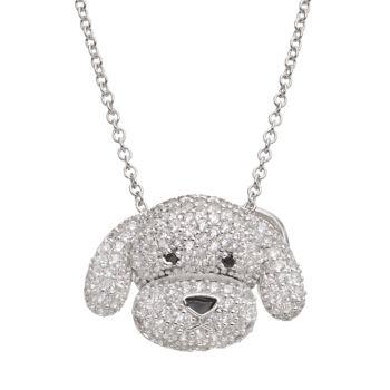 Sophie MillerCubic Zirconia Sterling Silver Dog Pendant Necklace