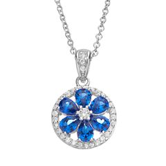 Sophie Miller Lab-Created Blue Spinel & Cubic Zirconia Sterling Silver Flower Halo Pendant Necklace