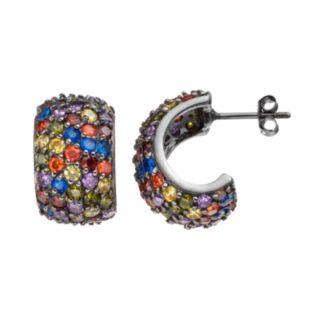 Sophie Miller Cubic Zirconia & Lab-Created Blue Spinel Semi-Hoop Earrings