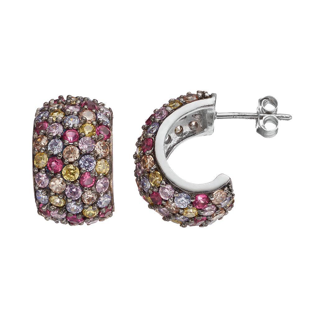 Sophie Miller Sterling Silver Cubic Zirconia Semi-Hoop Earrings