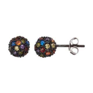 Sophie Miller Cubic Zirconia & Lab-Created Blue Spinel Ball Stud Earrings