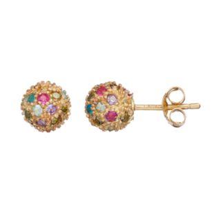 Sophie Miller Cubic Zirconia & Lab-Created Ruby Ball Stud Earrings