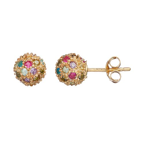 Sophie Miller Cubic Zirconia & Lab-Created Ruby Ball Stud Earrings