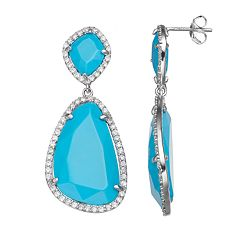 Sophie Miller Sterling Silver Simulated Turquoise & Cubic Zirconia Drop Earrings
