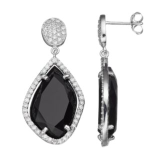 Sophie Miller Sterling Silver Cubic Zirconia Drop Earrings