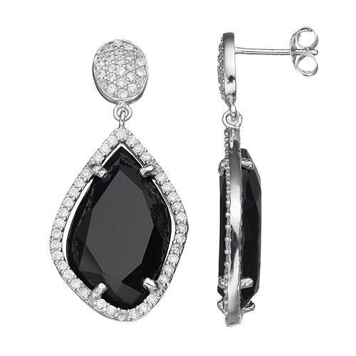 Sophie Miller Sterling Silver Cubic Zirconia Drop Earrings