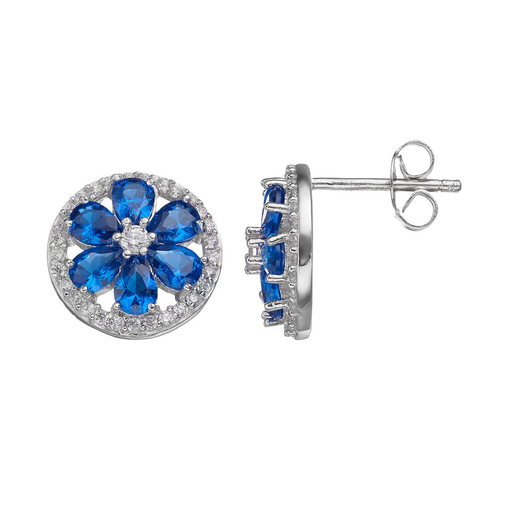 Sophie Miller Lab-Created Blue Spinel & Cubic Zirconia Flower Stud Earrings
