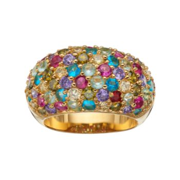 Sophie Miller Lab-Created Ruby & Cubic Zirconia Dome Ring